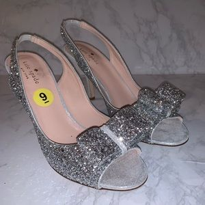 BNWT Kate Spade Silver Glitter Heeled Sandals